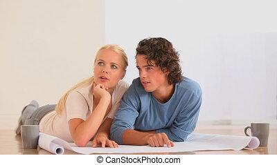 livingroo, leur, couple, planification, nouveau