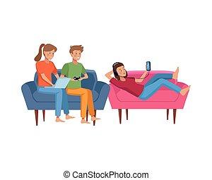 livingroom, activités, pratiquer, gens
