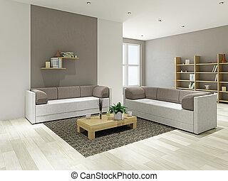 livingroom, com, mobília