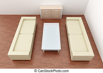 Livingroom Interior - 3D rendered Livingroom Interior.