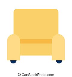 livingroom, isolé, sofa, icône, forniture