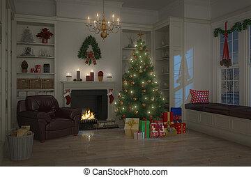 livingroom, -, nacht, verfraaide, kerstmis, 3d