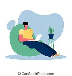livingroom, ordinateur portable, jeune, femme travail, ...