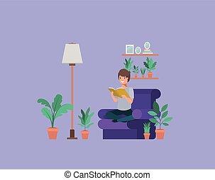 livingroom, sentando, jovem, livro, leitura estudante