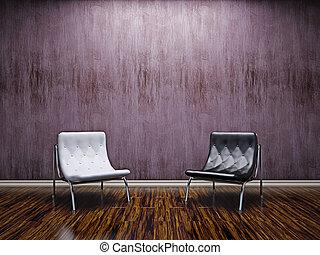 livingroom, stühle, leder