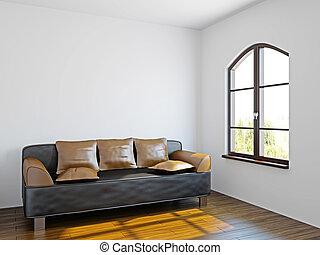 Livingroom with black sofa  near the windows