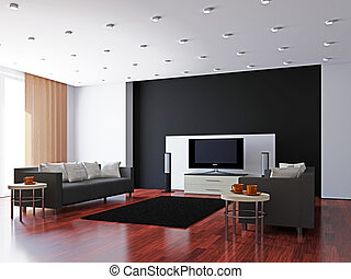 Livingroom with furniture and a TV near the wall
