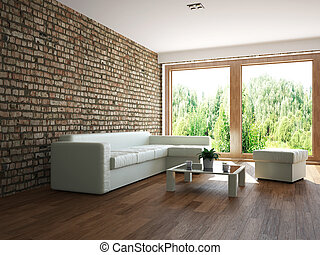 Livingroom with furniture and a window