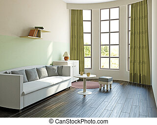Livingroom with furniture  near the big window