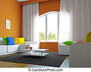 Livingroom with furniture near the big windows
