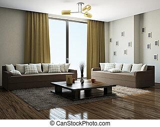 Livingroom with furniture near the panoramic windows
