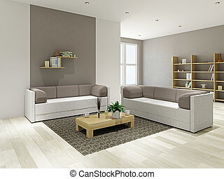 Livingroom with furniture - Sofas and a wooden table in the ...
