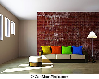 Livingroom with sofa and a lamp - Livingroom with sofa and a...