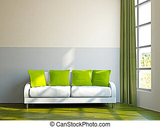 Livingroom with sofa and a plant near the window