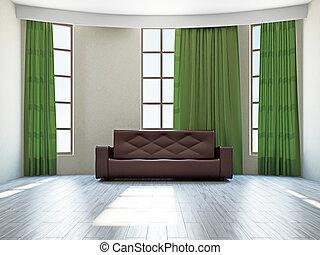 Livingroom with sofa near the big window
