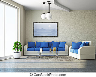 Livingroom with sofa near the wall
