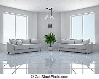 Livingroom with sofas near the windows