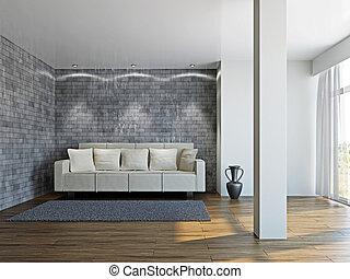Livingroom with white sofa  near the wall