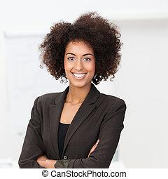 livlig, afrikansk amerikan, affärskvinna