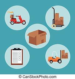 livraison, équipement, concept, collection, expédition