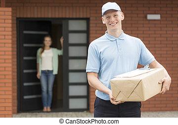 livraison, always, poste, sien, homme