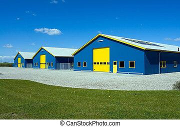 livraison, bâtiment, industriel