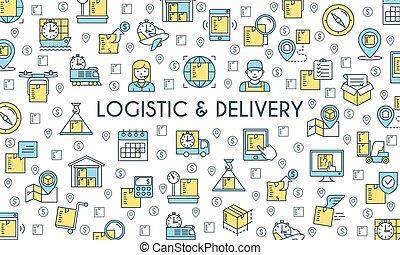 livraison, bannière, logistique