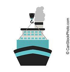 livraison, bateau, bateau, icône