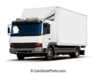 livraison, blanc, camion