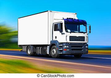 livraison, blanc, camion, route