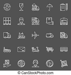 livraison, blanc, icônes