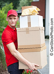 livraison, boîtes, carton, tenue, homme