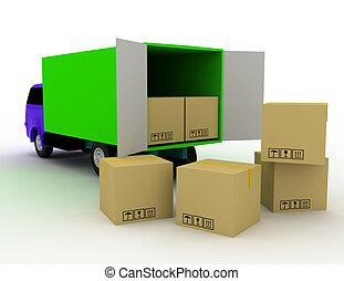 livraison, boîtes, fourgon