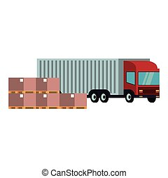 livraison, boîtes, fourgon, marchandise