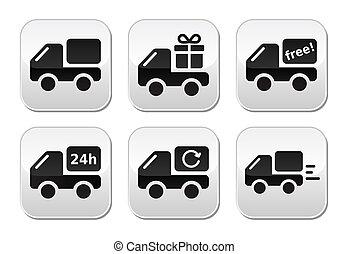 livraison, boutons, voiture, expédition