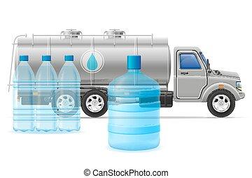 livraison, cargaison, concept, transport, illustration, eau, vecteur, camion, purifié, boire