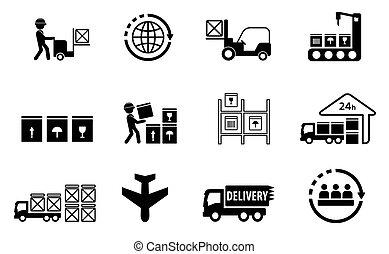 livraison, cargaison, ensemble