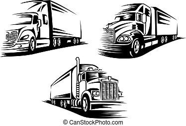 livraison, cargaison, silhouettes, camions