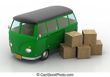 livraison, chargé, boîtes, carton, fourgon