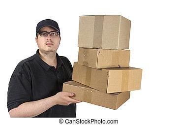 livraison, chauffeur, colis, pile