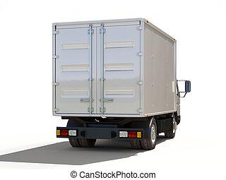 livraison, commercial, blanc, camion