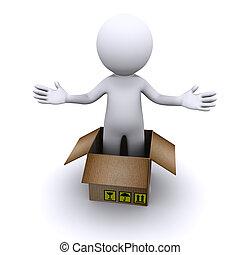 livraison, concept., paquet