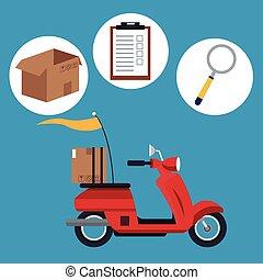 livraison, concept, transport, motocyclette, expédition