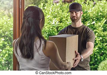 livraison, confection, porte, deliveryman