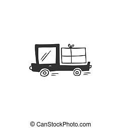 livraison, courrier, camion, simple, logo, main, dessiné, icône, vecteur, jeûne, parcel., element., exprès