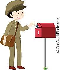 livraison, courrier, facteur