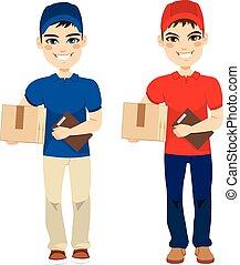 livraison, courrier, porter, homme, paquet