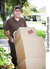 livraison, déménageur, homme, ou, dehors