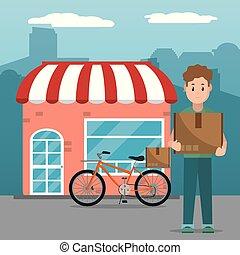 livraison, dessin animé, service