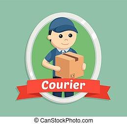livraison, emblème, courrier, homme